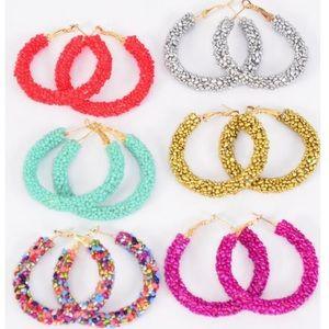 Beaded Hoop Earrings Jewelry